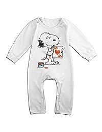 Kids Snoopy Baby Bodysuits Unisex Boys Girls 100% Cotton Long Pants Onesies