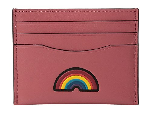 (COACH Women's Box Program Embosssed Leather Flat Card Case Sv/Peony Wallet)