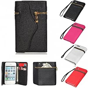 Zipper Envelope Purse Leather Wallet Design Case Cover For iPhone 4 4S --- Color:Rose Red