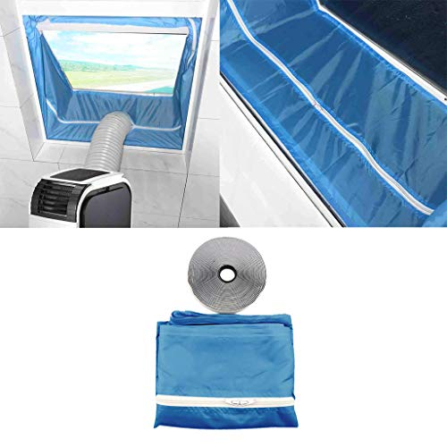 Matoen Mobile Soft Cloth Sealing Baffle Zipper Screen Door Seal for Air Conditioner and Tumble Dryer Works with Every Mobile Air Conditioning Air Exchange Guards with Zip and Adhesive Faster (Bule)