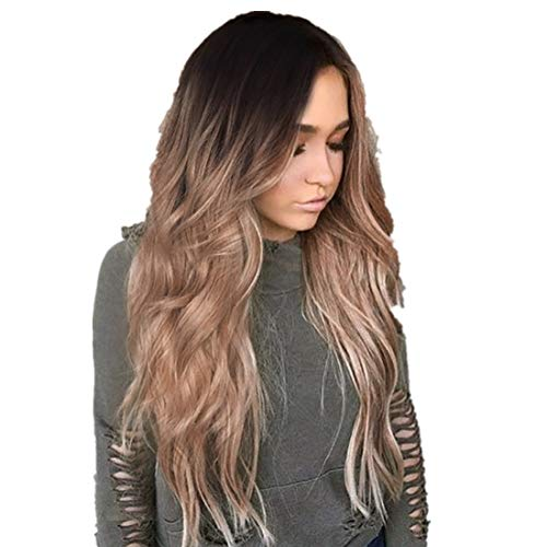 Wigs for Sale, Bxzhiri Ombre Wig Black to Light Brown Side Part Long Wavy Wig Heat Resistant Synthetic Daily Party Wig for Women Hair Extensions]()