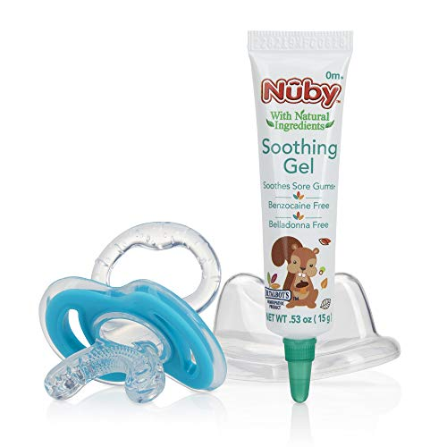 Nuby Natural Soothing Gel for Sore Gums with Bonus Gum-EEZ Teether Combo, 0.53 fl. oz, Benzocaine Free, Belladonna Free -