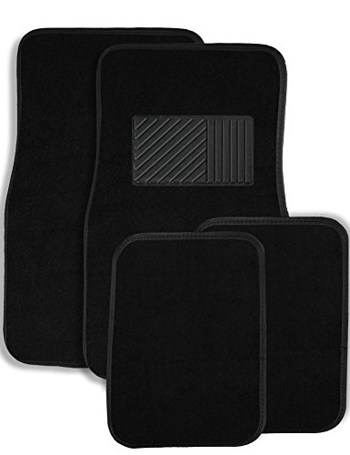 Johns FME-14 (4pc Set) Black Carpet Floor Mats with Heel Pad