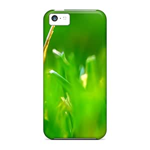 Premium Protection Green Grass Cases Covers For Iphone 5c- Retail Packaging