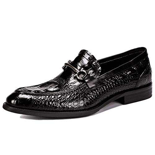 A YongBe Men's Business Office Work Black Leather Slip-On Loafers Oxford Formal Smart Red Loafer Flats Wedding Party Dress shoes For Men