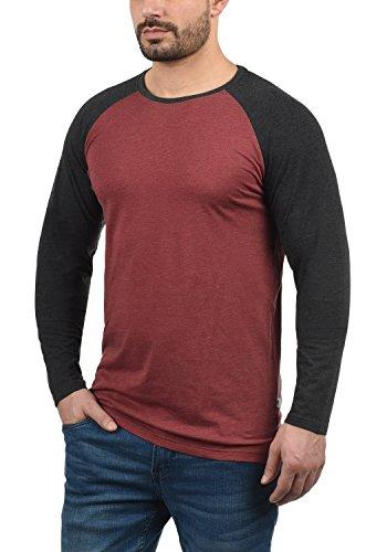 Red Longsleeve Con Para Básica Redondo Hombre De Bastien Cuello Wine Larga 8985 Camiseta solid Manga Melange SOwq4z