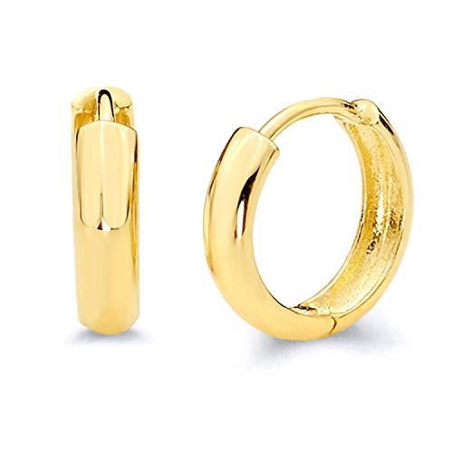 14k Yellow Gold 3mm Thickness Huggie Earrings (12 x 12 mm)