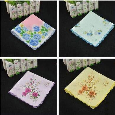 (Hankie Handkerchiefnew10pcs Cotton Print Handkerchief Flowers Lady Women Hankies Quadrate Hanky - White Furoshiki Center Children Suit Women Woman Phone Head Headset)