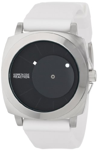 Kenneth Cole REACTION Unisex RK1328 Street Silver Round Case Offset Black Dial White Accents Watch