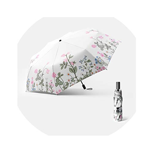 Rain Umbrella Women UV Parasol Three Folding Sun Protection Umbrellas Flower Aluminum Summer Windproof,white (Sarasota Patio By Design)