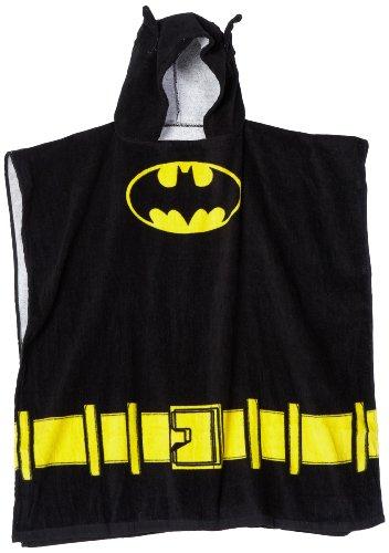 Towel Robe (DC Comics Boys 'Batman Superhero' Costume Hooded Beach Bath Towel, Black, 4-7 ONE SIZE)
