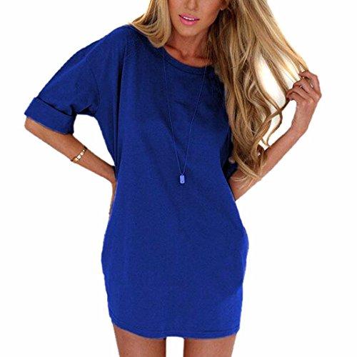 Cuello de cuello redondo de 1/2 de la manga vestidos de la gasa de las mujeres remata la camisa floja vestidos cortos Azul