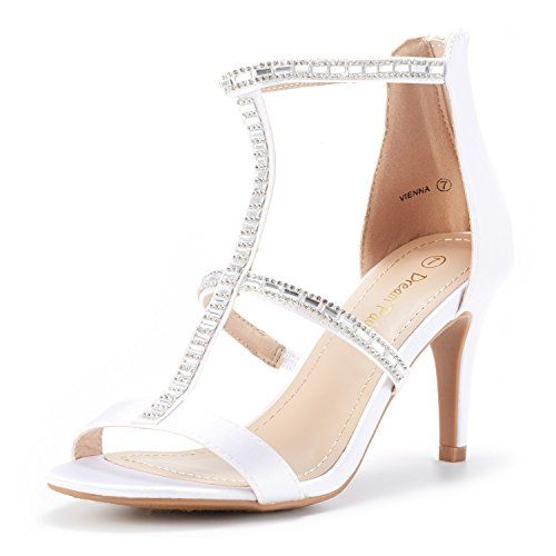 (DREAM PAIRS Women's Vienna White Satin Fashion Stilettos Open Toe Pump Heeled Sandals Size 8 B(M) US)