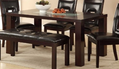 Homelegance Lee Dining Table W/ Crackle Glass Insert In Espresso