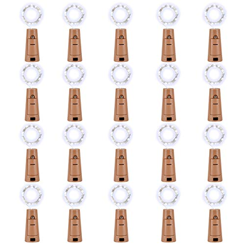 LEDIKON 20 Pack 20 LED Wine Bottle Lights with Cork,3.3Ft Silver Wire Cool White Cork Lights Battery Operated Fairy Mini String Lights for Wedding Party Wine Liquor Bottles Crafts Table Decor