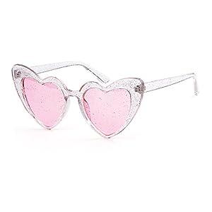 Clout Goggle Heart Sunglasses Vintage Cat Eye Mod Style Retro Kurt Cobain Glasses (Transparent Pink, 53)