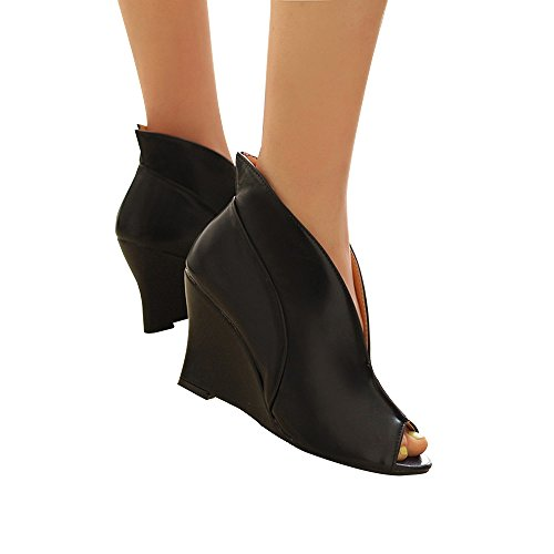 Leather Peep Toe Wedges - 5