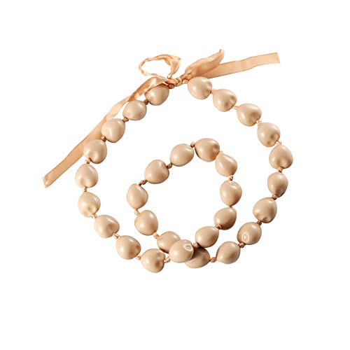 BNQL Chunky Hawaiian Kukui Nut Lei Necklace with Ribbon Bow Closure Graduation Gift (Beige)