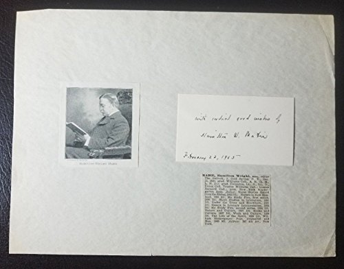 """Essayist"" Hamilton Wright Mabie Hand Signed Card Matted Todd Mueller COA"