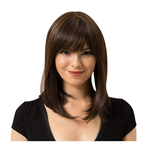 Naiflowers Women Brown Short Wig, 14 inch Natural Lace Front Curly Wavy Synthetic, Party Cosplay Accessories Ultra Soft Heat Resistant Fiber Synthetic Hair Natural Full Wigs, Elastic&Smooth (Brown)]()