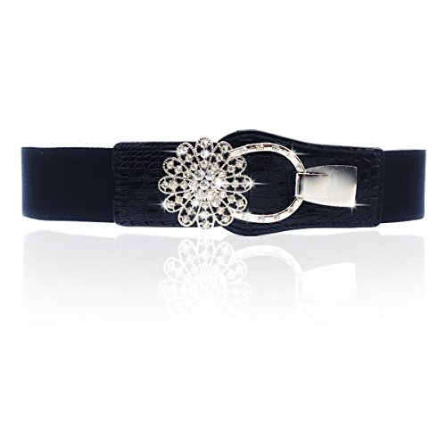 Women's Elastic Stretch Waist Belt Rhinestone Buckle (Bling Belt Buckle)