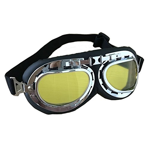 Vintage Motorcycle Goggles, Anti-UV Adjustable Motorcycle Glasses Motocross Pilot Scooter Goggles Harley for Kids, Men and Women