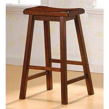 Amazon Com Winsome Wood 29 Inch Saddle Seat Stool Walnut