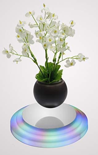 Floating Flower Pot - LED Floating Bonsai Pot - Magnetic Suspension Levitating Air Bonsai Pot for Home Office Decoration -Creative Design levitation Bonsai
