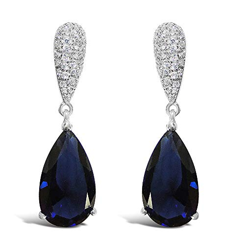 925 Solid Sterling Silver Pave Cubic Zirconia Tear Drop Dangle Stud Earrings - Girls and Women Jewelry (Sapphire)