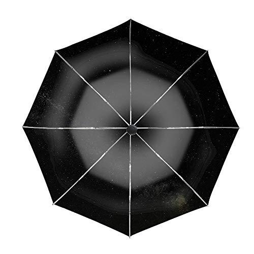 (Travel Umbrella, 8 Ribs Finest Windproof Milky Way Starry Sky Night Horizon Radiance Umbrella with Teflon Coating, Auto Open Close and Upgraded Comfort Handle)