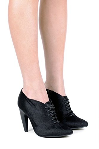 Jeffrey Campbell Edwina F Black Hair Curved Heel Lace up Pointed Toe Bootie (9) (Heel Curved)