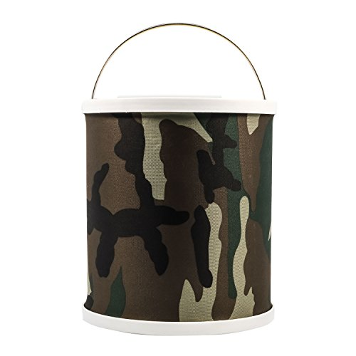 Camco Collapsible Bucket with Storage Case - Durable Pop Up Bucket with Watertight Fabric, Holds 3 Gallons of Water - Great for RVs, Camping, Fishing, Boating, Hiking and More - Camouflage (42994)
