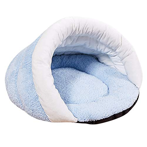 Cat Sleeping Bag, Inkach Tent Bed Liner for Small Dogs Comfy Cave Pet House Soft Fleece Tunnel Winter Warm Nest Cover (S, Light Blue) ()