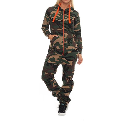 99W5 Hype Inc Unisex Damen Herren Jumpsuit Overall Camo Orange Zipper L
