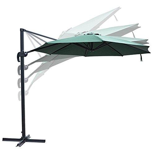 10 Feet Rome Outdoor Patio Umbrella Cantilever Hanging Offset Crank Tilt Pedal UV30