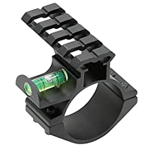 """Higoo® 1-Inch 1"""" Scope Ring Adaptor W/ Picatinny/Weaver Rail & Bubble Level, Tactical Barrel Clamp Rail Mount with Bubble Level for Scope Flashlight Laser Sight"""