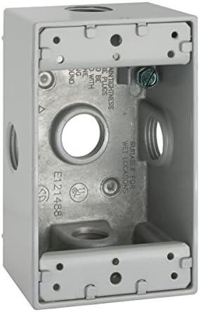 18.3 Cu-in 1 Gang Gray 4-1//2 in L X 2-3//4 in W X 2 in D 3//4 Inch Hubbell-Bell 5332-0 Weatherproof Electrical Box