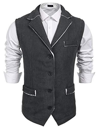 (COOFANDY Men's Suede Leather Suit Vest Casual Western Vest Jacket Slim Fit Vest Waistcoat (L, Dark)