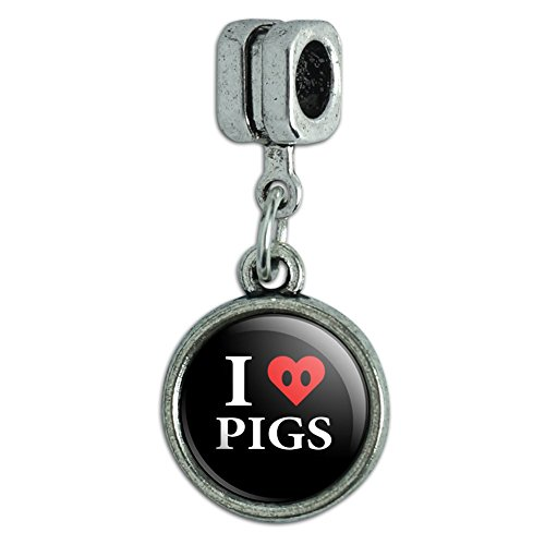 - I Love Pigs Heart Snout Italian European Style Bracelet Charm Bead