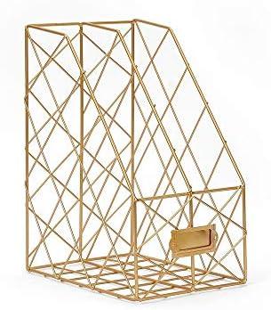 Magazine Sorter Regal Dekorative Desktop-Finishing-Rack Kreative Metallfeile Shelf Office Document Storage Rack 2 Layers Magazine Holer for Schreibtisch für Büro ( Color : Gold , Size : 30x24.5x16cm )