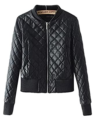 Women 39 S Quilted Panel Faux Leather Zip Up Moto Biker Bomber Jacket Outfit Black At Amazon Women