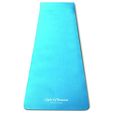 Light of Namaste Made 100% Eco-Friendly 72 by 25 inch 6mm Thick Double Sided Light Sky Blue Yoga / Exercise Mat With Carrying Bag