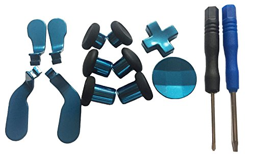 Hisonders 12 in 1 - Metal Mod 6 Swap Thumbsticks Joysticks, 4 Paddles & 2Dpads with Open Tool for Xbox One Elite Controller (Blue)