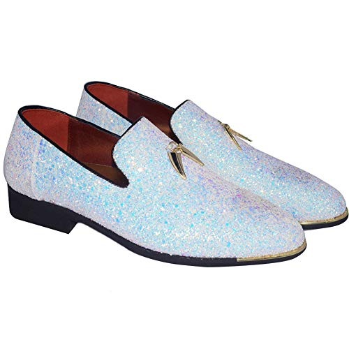 CMM Men's Casual Slip-on Loafers Modern Slip-on Dress Wedding Shoes Classic Wingtip Size 11 White Classic Luxury Mens White Shoes