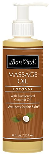 Bon Vital' Coconut Massage Oil Made with 100% Pure Fractionated Coconut Oil to Repair Dry Skin, Used by Massage Therapists and at-Home Use for Therapeutic Massages and Relaxation, 8 Ounce Pump Bottle ()