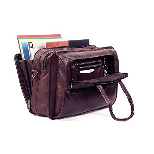 (Winn International Harness Leather Briefcase with Accordion File in Brown)