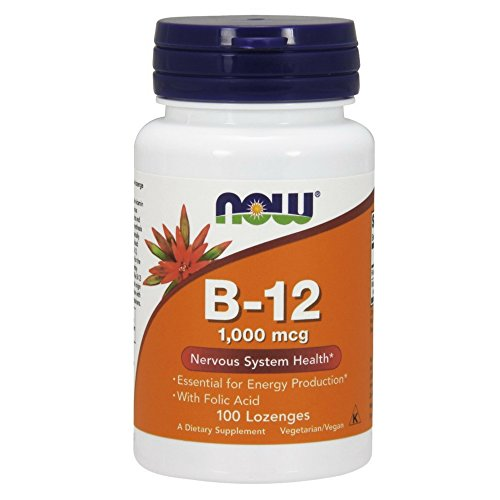 NOW Vitamin B-12 (1000 mcg) with Folic Acid, 100 Chewable Lozenges
