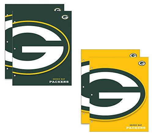 Green Bay Packers NFL 2-Pocket School Folders, 4 Pack, 9.5