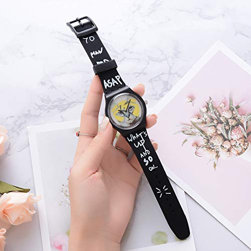 Cool Boys Girls Letters Cat No Numbers Analog Quartz Silicone Band Wrist Watch by Gaweb (Image #7)
