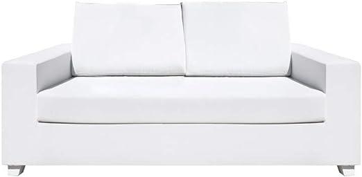 Sofá de jardín 2 plazas Blanco de Aluminio de 70x88x180 cm - LOLAhome: Amazon.es: Jardín